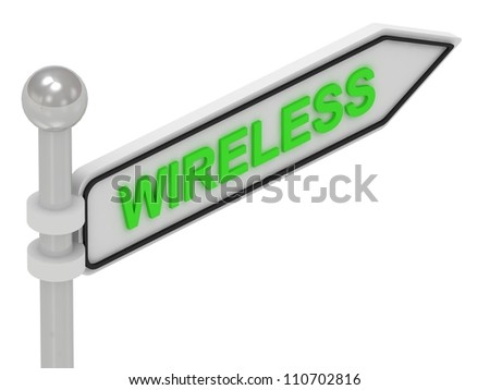 WIRELESS arrow sign with letters on isolated white background