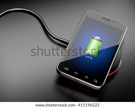 Wireless charging of smartphone. 3D image on a black background - stock photo