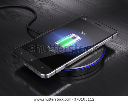 Wireless charging of smartphone - 3d render - stock photo