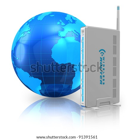 Wireless communication and internet concept: wireless router and blue Earth globe isolated on white reflective background - stock photo