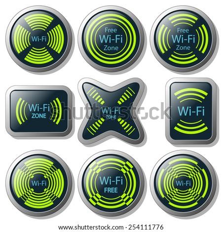 Wireless communication button - stock photo