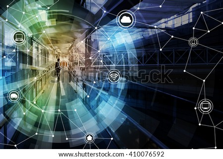 wireless communication network abstract image visual, internet of things - stock photo