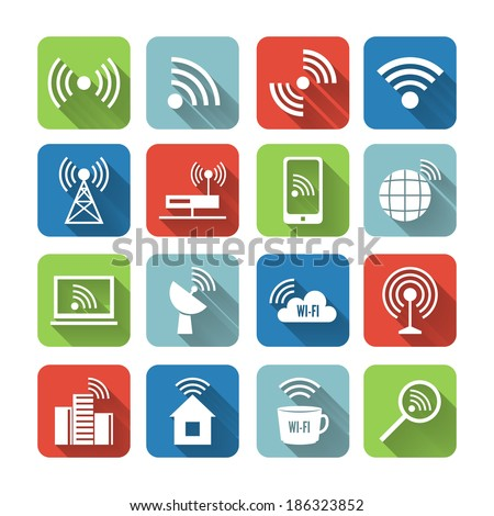 Wireless communication network business flat icons set of global connection wifi signal search and cell tower and isolated  illustration