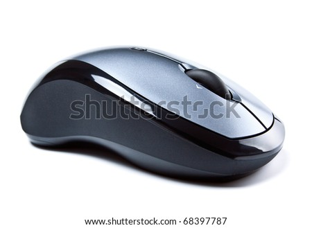 wireless computer mouse isolated on white - stock photo