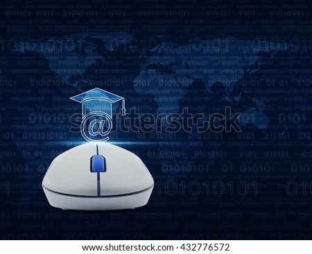 Wireless computer mouse with e-learning icon over computer binary code on blue background, Study online concept, Elements of this image furnished by NASA - stock photo