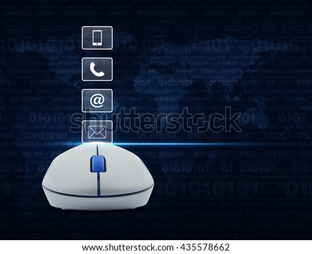 Wireless computer mouse with telephone, mobile phone, at and email buttons over computer binary code background, Customer support concept, Elements of this image furnished by NASA - stock photo