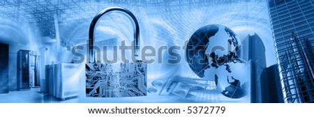 Wireless computer security theme - stock photo