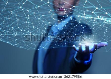 Wireless connection futuristic concept - stock photo