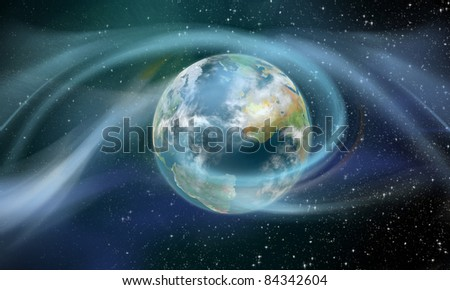 Wireless Energy surrounding mother earth illustrated as a sun-storm - stock photo