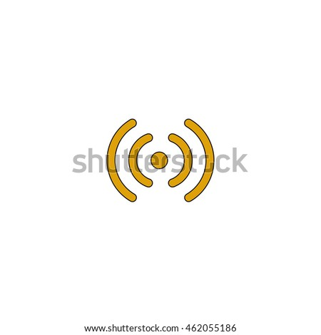 Wireless Flat yellow thin line pictogram on white background. Illustration icon