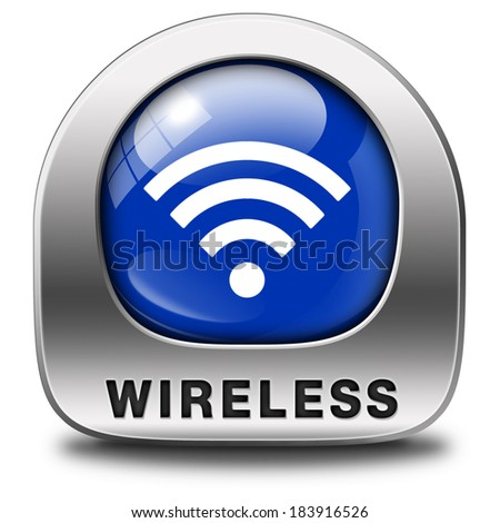 wireless free wifi access area and internet access icon or button