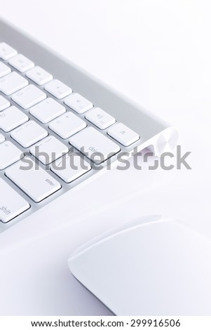 wireless keyboard and wireless mouse on white background