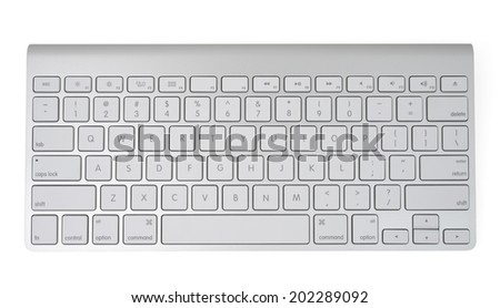 Wireless metallic keyboard isolated on white, with clipping path