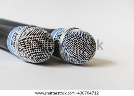 wireless microphone on a white background with copyspace