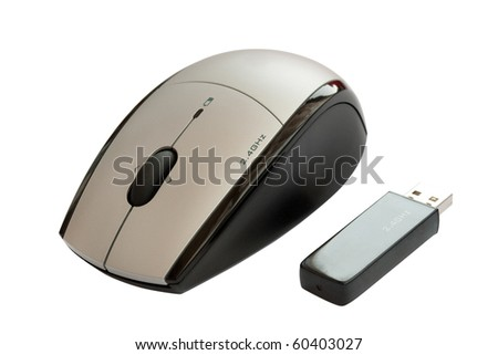 wireless mouse with usb dongle isolated on white background with clipping path