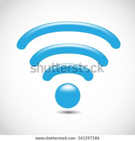 Wireless network symbol icon isolated on white background. - stock photo