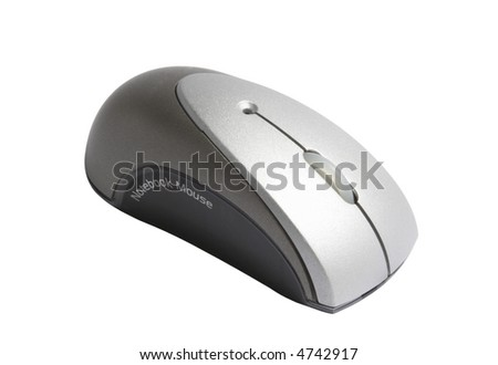 Wireless notebook mouse isolated on white background - stock photo