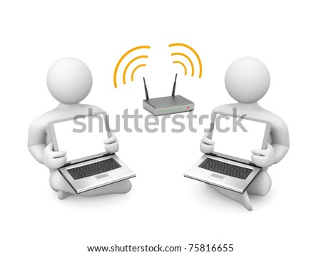 Wireless presentation. Image contain clipping path - stock photo