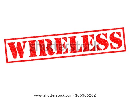 WIRELESS red Rubber Stamp over a white background. - stock photo