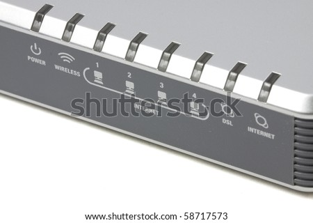 Wireless router - close up icon and status - stock photo