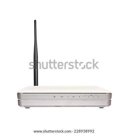 Wireless Router with the antenna - stock photo
