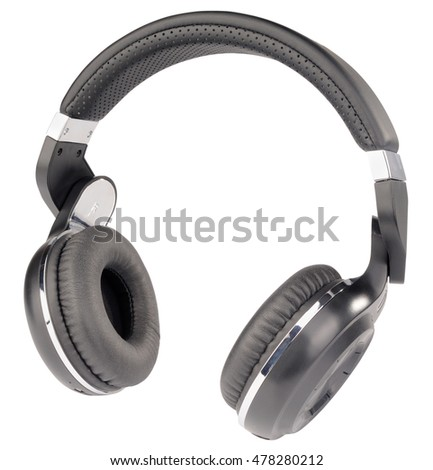 Wireless stereo headphones isometric view isolated on the white background