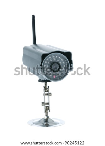 Wireless surveillance camera isolated on white background - stock photo