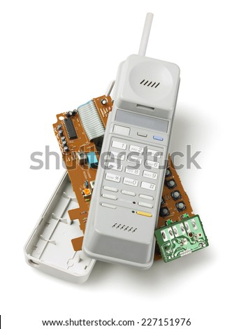 Wireless Telephone Handset And Components On White Background - stock photo