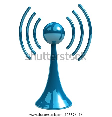 wireless tower with radio waves - stock photo