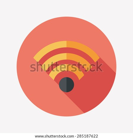 Wireless wifi flat icon with long shadow - stock photo