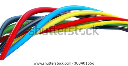wires color on a white background - stock photo