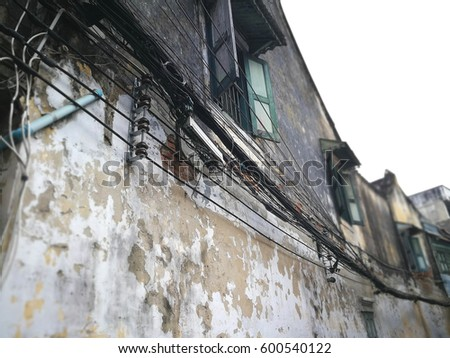 broken electric pole wire stock images, royalty free images Old Electric Wiring wires hanging on old house, the wire cable is tangle, need electric wiring to old electric wiring
