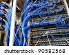 Wires of internet router connectors, Network Server - stock photo