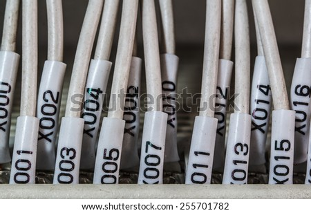 Wiring -- Control panel with wires industrial factory - stock photo