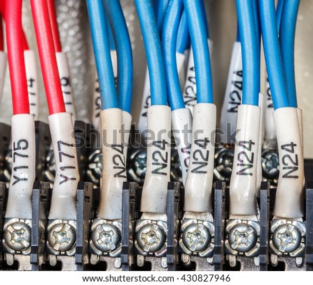 Wiring -- Control panel with wires industry - stock photo