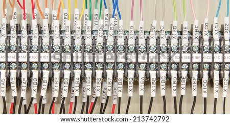 Wiring PLC  Control panel with wires industrial factory - stock photo