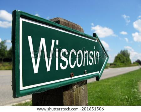 Wisconsin arrow signpost along a rural road - stock photo