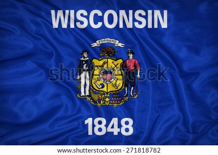 Wisconsin flag on fabric texture,retro vintage style - stock photo