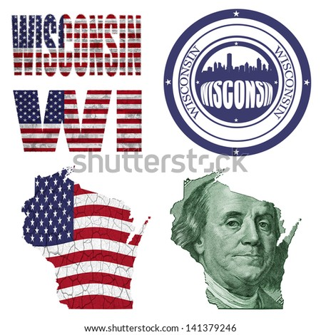 Wisconsin state collage (map, stamp,word,abbreviation) in different styles in different textures - stock photo