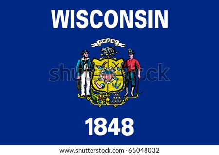 Wisconsin state flag of America, isolated on white background. - stock photo