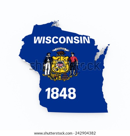 Wisconsin state flag on 3d map - stock photo