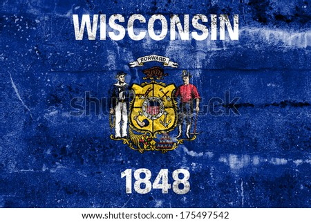 Wisconsin State Flag painted on grunge wall