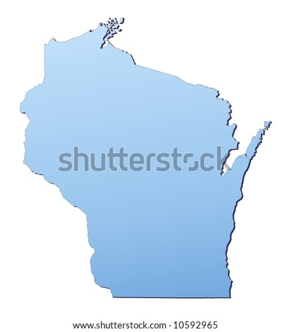 Wisconsin Usa Outline Map Shadow Detailed Stock Illustration - Wisconsin on map of usa