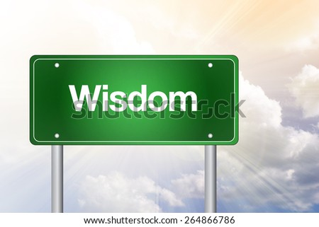 Wisdom Green Road Sign, Business Concept - stock photo