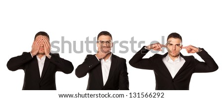 Wisdom - I do not see, do not speak, can not hear anything - stock photo