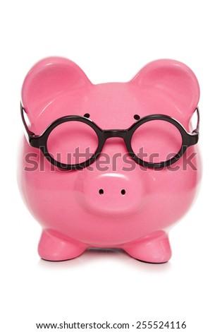 wise secretary piggy bank cutout - stock photo