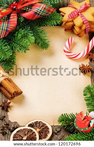 Wish list frame with Christmas tree branches and vintage decorations - stock photo