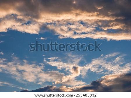 Wispy clouds in summer heavenly sky - stock photo