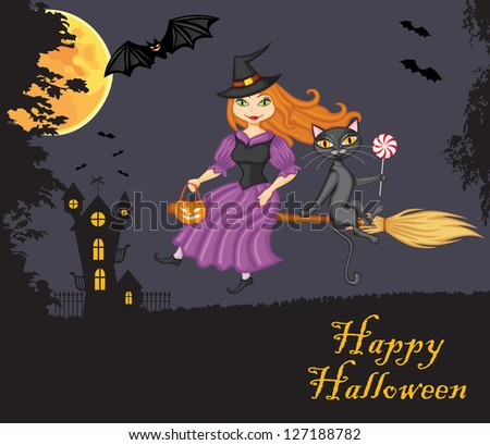 Witch and a cat flying on a broom against the night sky, the terrible home and vampires