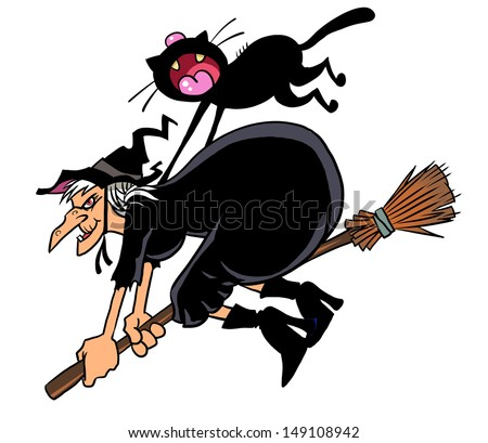 Witch and her black cat flying on broom  - stock photo